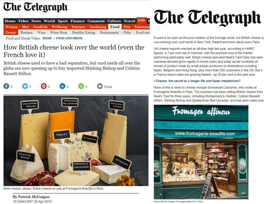 The Telegraph. Best cheese shop in Paris. British cheeses in Paris. British cheeses in France. Fromagerie Beaufils.