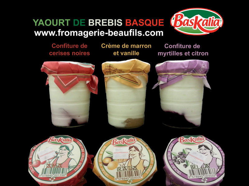 Yaourts de brebis basque. Yaourts confiture. Baskalia.Fromagerie Beaufils.