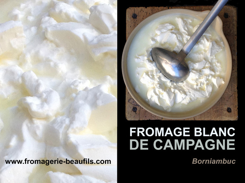 Fromage blanc de campagne fermier. Borniambuc. Fromagerie Beaufils.
