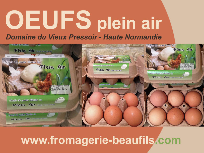 Oeufs plein air. Fromagerie Beaufils.